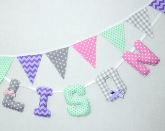 Baby Name Banner, Custom Girls Fabric Letters, Teal, Purple,Grey, Personalized Kids, Girls Name wall letters, Baby Shower, Baby Gift