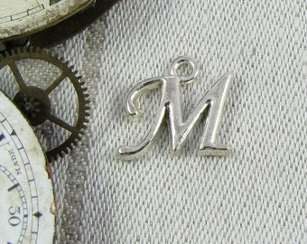 """Silver Script Letter """"M"""" Charms, 1 or 5 letters per package  ALF018m"""
