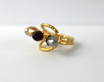 Wrought Bronze Ring- flower design-crystals