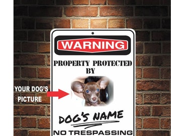 "Custom ""Protected By"" Aluminum Sign. Your Dog's name and Picture   9 x 12 Predrilled U.S.A Free Shipping"