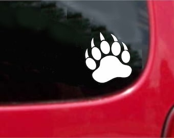 Set (2 Pieces) Bear Paw  Sticker Decals 20 Colors To Choose From.  U.S.A Free Shipping