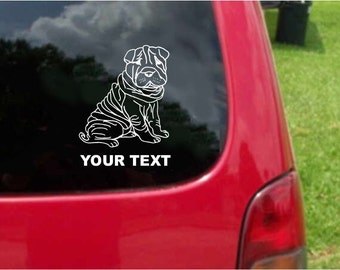 Set (2 Pieces)  Chinese Shar-Pei  Dog  Sticker Decals with custom text 20 Colors To Choose From.  U.S.A Free Shipping