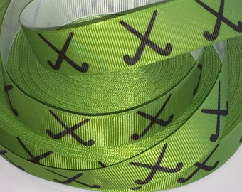 7/8 inch Black HOCKEY Sticks on green  - SPORTS - Printed Grosgrain Ribbon hair bow