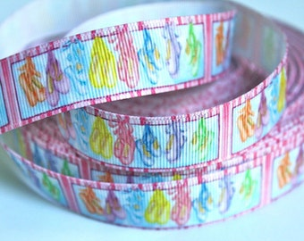 1 inch Pastel Ballet Slippers on Pink border Dance Sports Printed Grosgrain Ribbon for Hair Bow