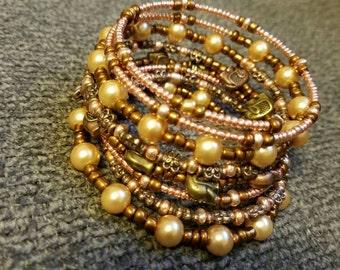 Rose Gold Beaded Wrap Bracelet