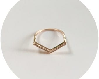 Crystal Chevron Ring