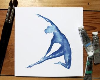 Yoga Card   Yoga Stationary   Blank Greeting Card   Yoga Pose   Blue   Square