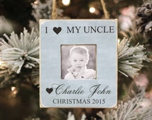Christmas Gift for Uncle Personalized Photo Ornament from Niece Nephew I Love My Uncle