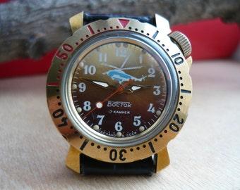 "Limited edition wostok Vintage wrist watch ""В честь 50 летия КВПО"" / helicopter/ copter / men's Watch Vostok / Mechanical watch Soviet Union"