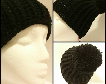 Black Ribbed Stocking Cap