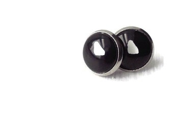 Earring black stainless steel hand-painted by exception Heart
