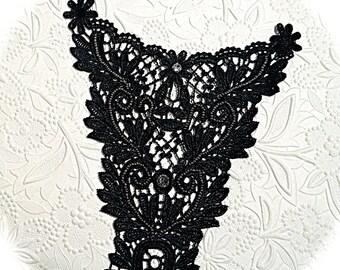 Black Venice Lace Applique Beaded Goth Applique Sewing Supplies BA-203