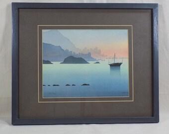 Limited Edition Watercolor Print Hong Kong 1990