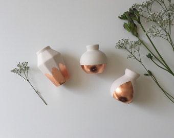 Copper gilded porcelain bud vases and candle holder (set of 3) MADE TO ORDER