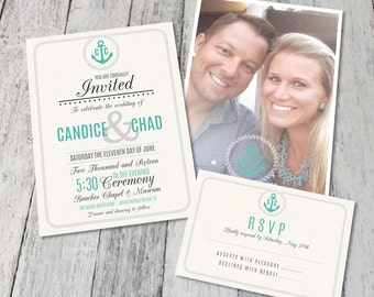 Nautical Wedding Invite Set (Double Sided) Digital