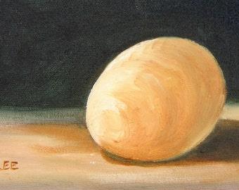 Little Egg I, original art, representational art, original oil painting, kitchen art, 6 x 4, 4 x 6