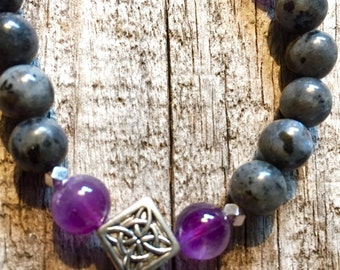 Norwegian Labradorite and Amethyst Necklace with Celtic    Design Tibetan Beads Spiritual Necklace  Mystical Necklace  Dispels Anxiety
