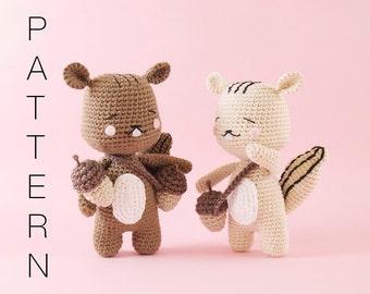 Amigurumi crochet cute chipmunk - Rooney the chipmunk PATTERN ONLY (English)