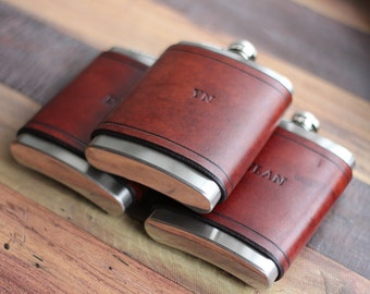Custom Leather Flask 8oz