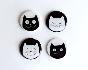 Fridge Magnets, refrigerator, locker magnets, cat lovers, gift, cat illustration