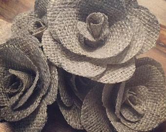 Set of 10 single DIY hessian flowers ...on their own :)