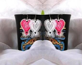 Heart earrings tassels FSL lace-embroidery design/ INSTANT DOWNLOAD