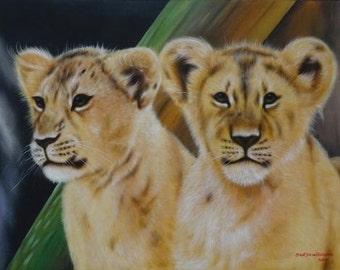 Lion Cubs Original Acrylic Painting