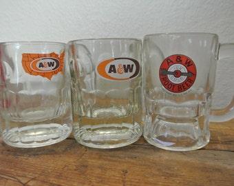 Vintage A&W Rootbeer Mugs, Set of 3 Mini Mugs