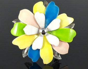 Sarah Coventry Pastel Petals Enamel Flower Brooch, Vintage 60s Flower, Pink Yellow Blue Green White, Vintage Flower Pin, Flower Power