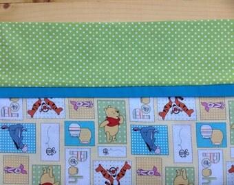 Winnie the Pooh Pillowcase, Piglet, Tigger, Eeyore, Winnie the Pooh Bedding, Winnie the Pooh Birthday, Green, Yellow, Blue, Polka Dots