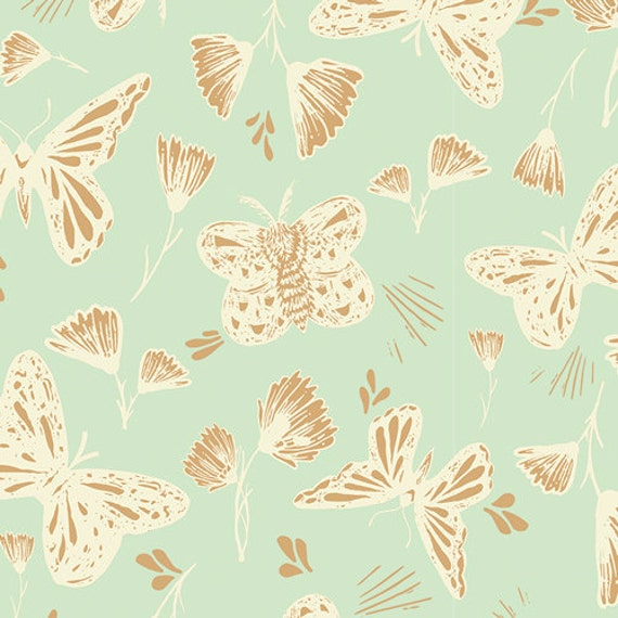 Organic Changing Pad Cover >> Hello Ollie Sweetly Sings in Mint >> Made-to-Order gold mint butterfly change pad, gold changing pad