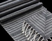 Handwoven Silk and Organic Cotton Scarf - Black White - For Men and Women