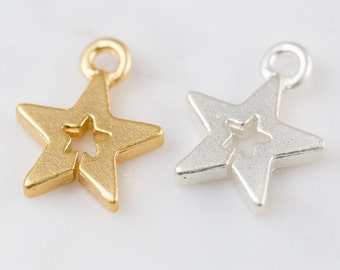 Star inside mini star pendant , DIY pendant, jewelry gift, Beading supplies,brass charm,DIY jewelry,handmade pendant,unique,metal jewelry