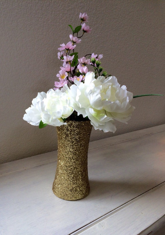 Glitter vase set of tall gold glittered vases by