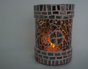 Mosaic candleglass from recycled winebottle nr. 264