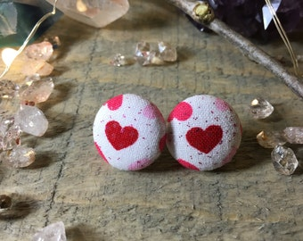 Valentines Day Heart Button Fabric Earrings