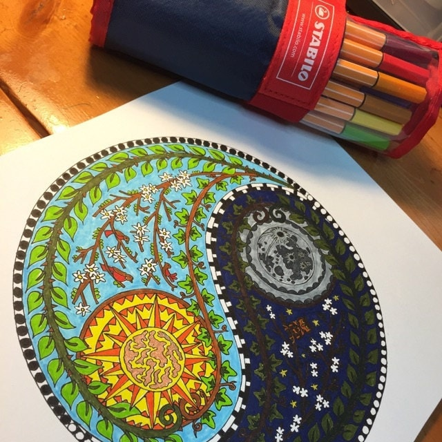 Yin Yang Moon and Sun adult coloring page by Candy Hippie http://candyhippie.com