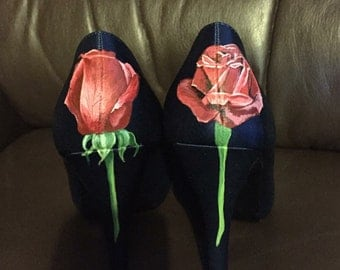 Rose CUSTOM Hand painted heels shoes wedding bridal shoes painted to order.
