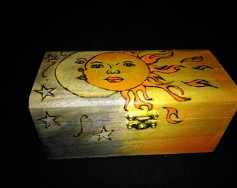Sun/Moon trinket box, jewelry, runes box