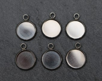 Stainless Steel Bezel Charms Pendants for Glue in Settings. 12mm  Set of 6