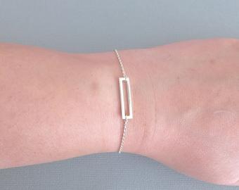 Sterling Silver Bar Bracelet, Geometric Bracelet, Silver Geometric, Layering Bracelet, Simple Bracelet, Outline Bar Bracelet,StampedEve