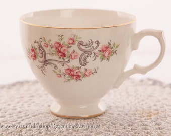 Gainsborough Bone China tea cup, delicate pink roses and grey scrolling, gold gilt rim