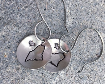 Sterling Silver - Hand Stamped - Maine - Heart - Love Maine - Earrings - Oxidized
