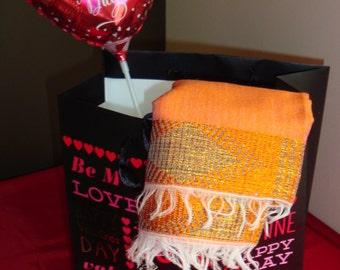 Women Bright Tangerine Shawl/Large Shawl/Sheer Shawl/Large Orange Shawl/scarf ethiopia/scarf
