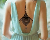 Sexy Back Tattoo - Black Tattoo Ornament - Large Tattoo - Temporary Tattoo