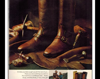 "Vintage Print Ad October 1969 : Dingo Boots ""The 1970 Shoe"" Advertisement Color Wall Art Decor 8.5"" x 11"""