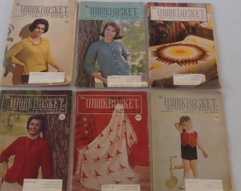Lot of Six The Workbasket Magazines from the 60's (free shipping)