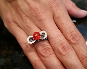 handmade ring produced with recycled bicycle chain and bead