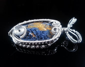 Beautiful fish like wire wrapped pietersite, 2 in 1 brooch and pendant