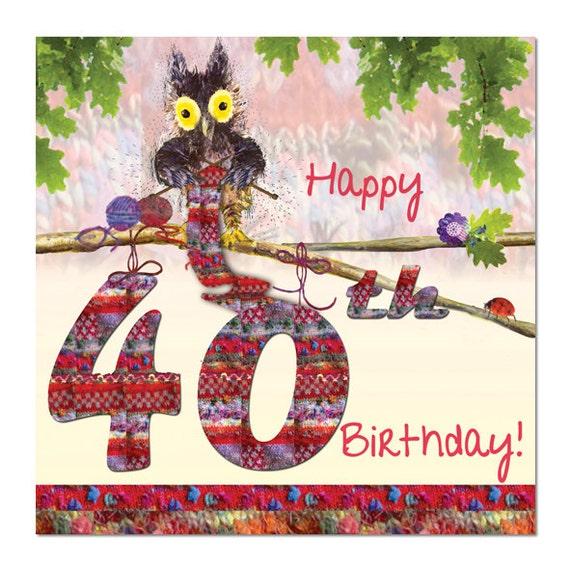 Knitting Happy Birthday Card : Happy th birthday card owl knitting fine art blank